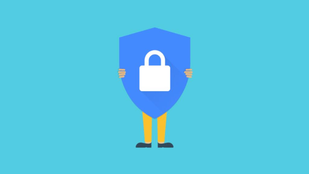 man holding SSL certificate logo